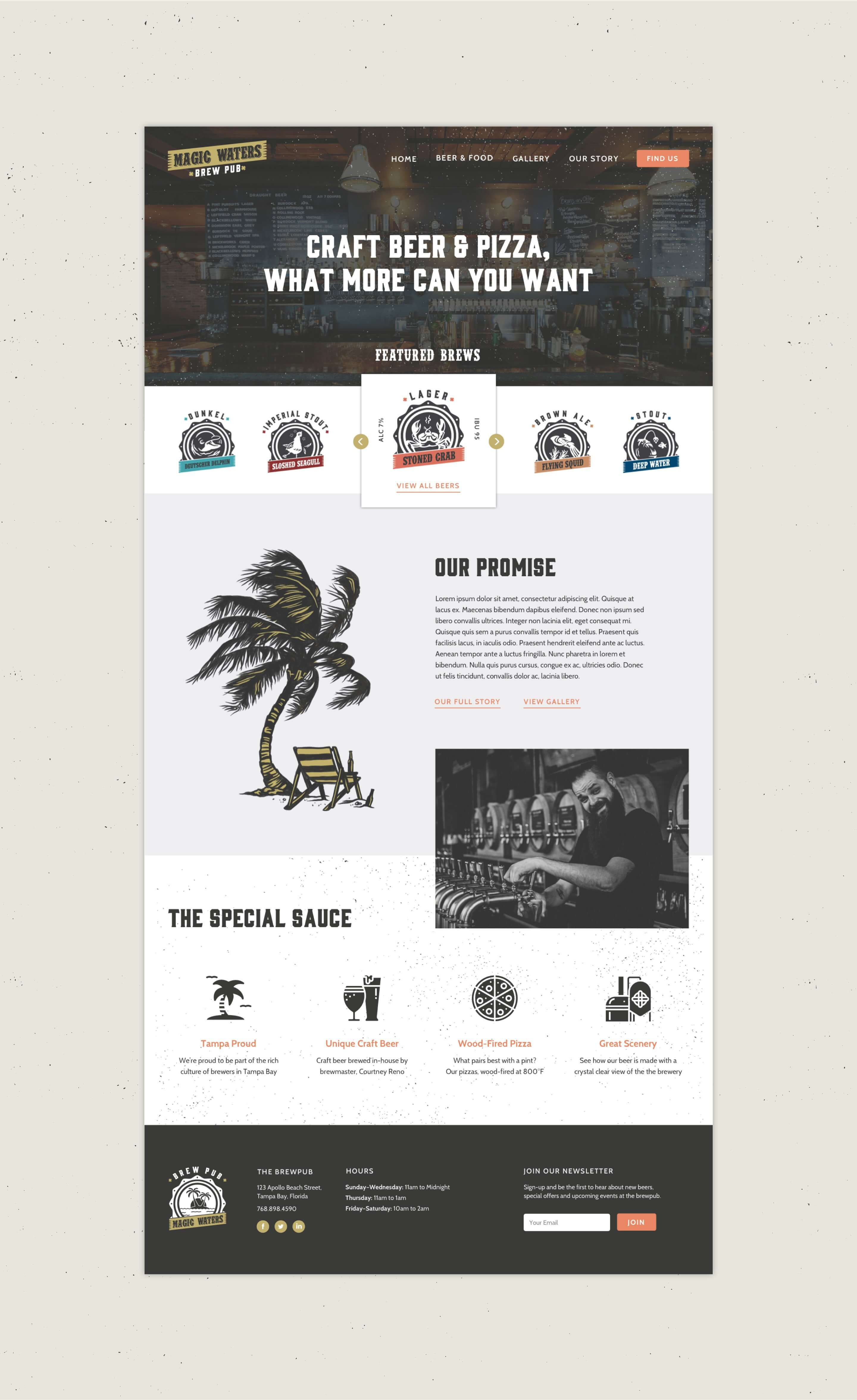 magic waters brewery responsive website design