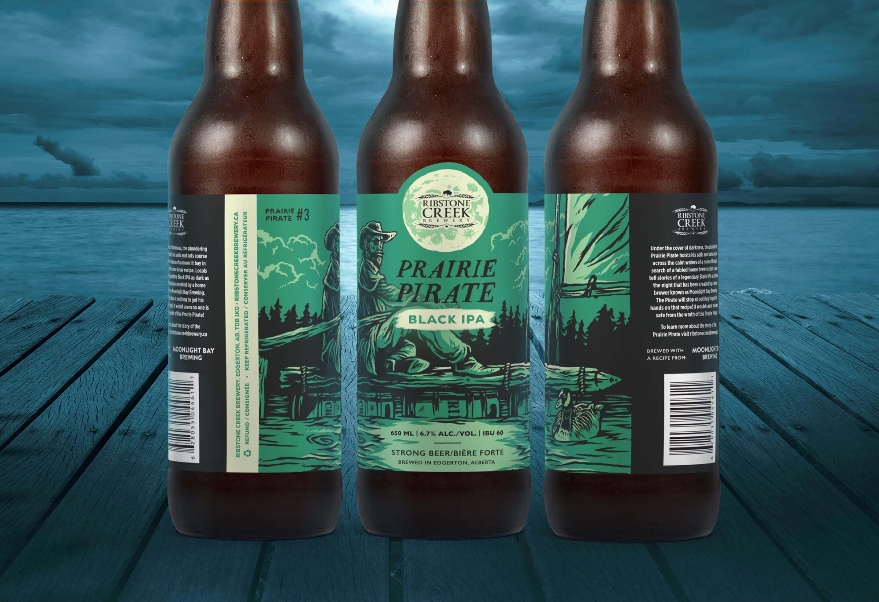 Prairie pirate cowboy on raft beer illustrations