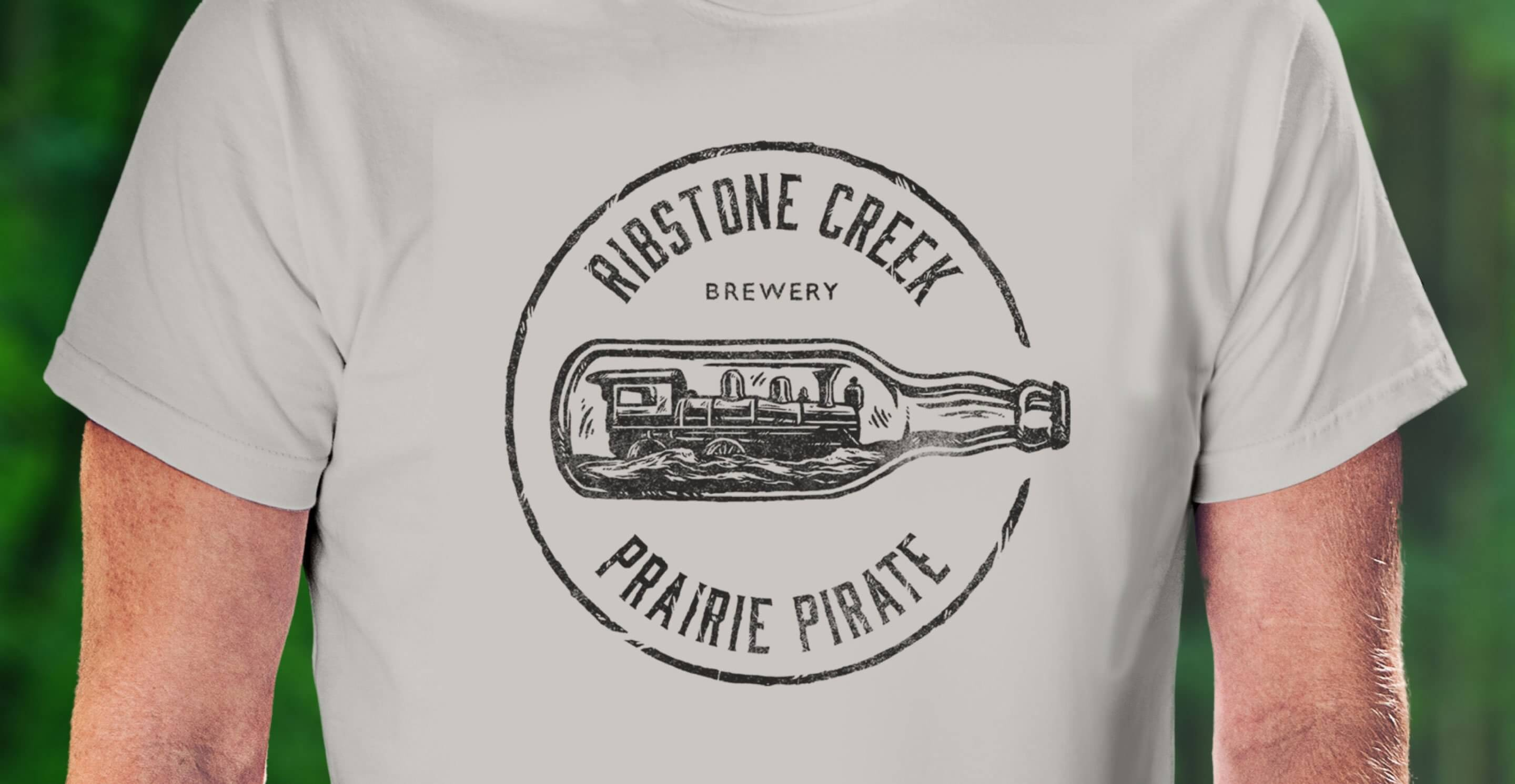 prairie pirate train bottle apparel illustration
