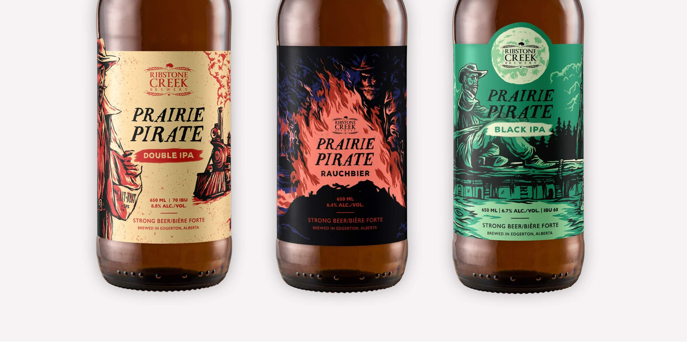 Prairie pirate beer label illustration series