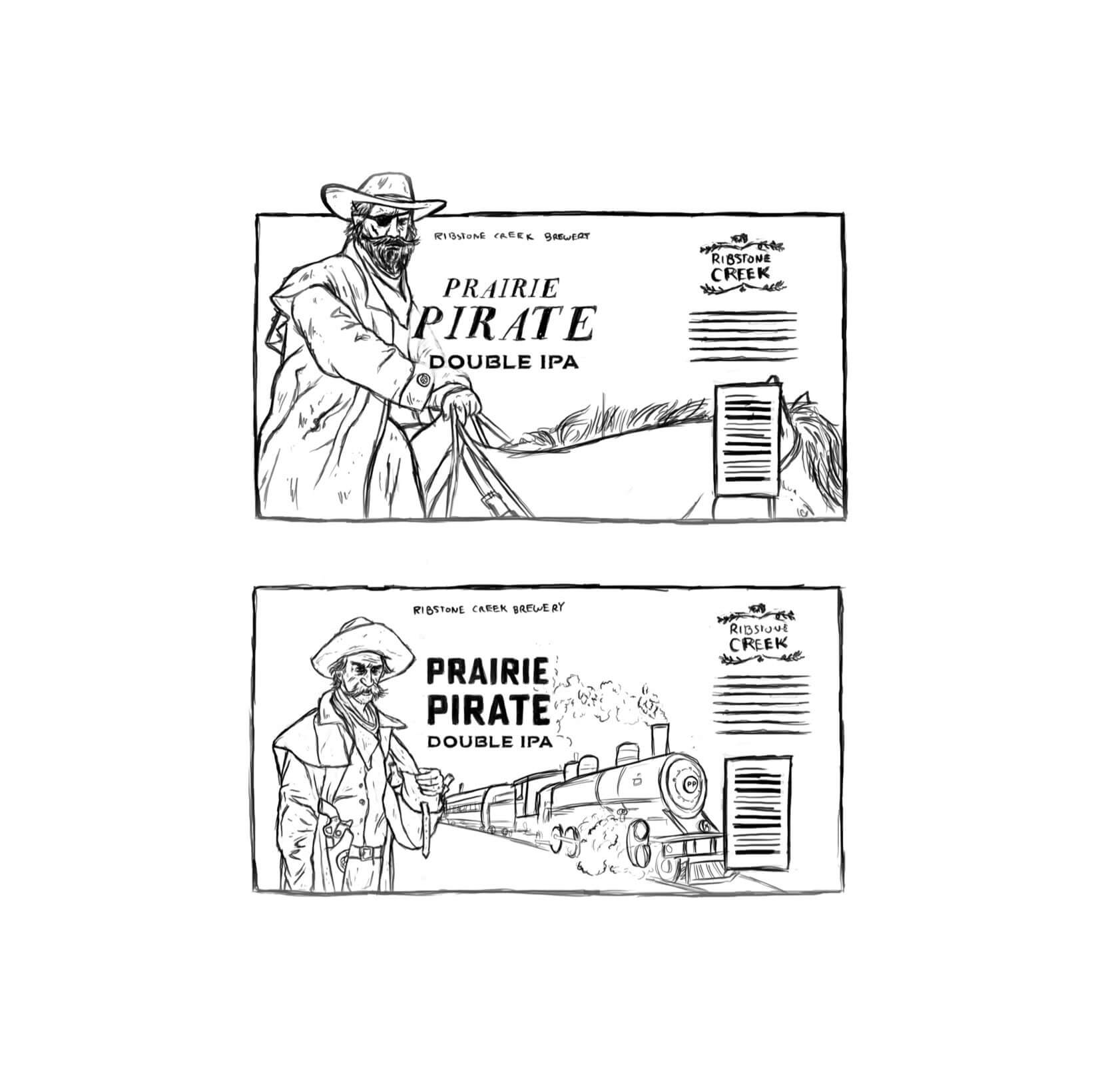 prairie pirate beer label concept sketches