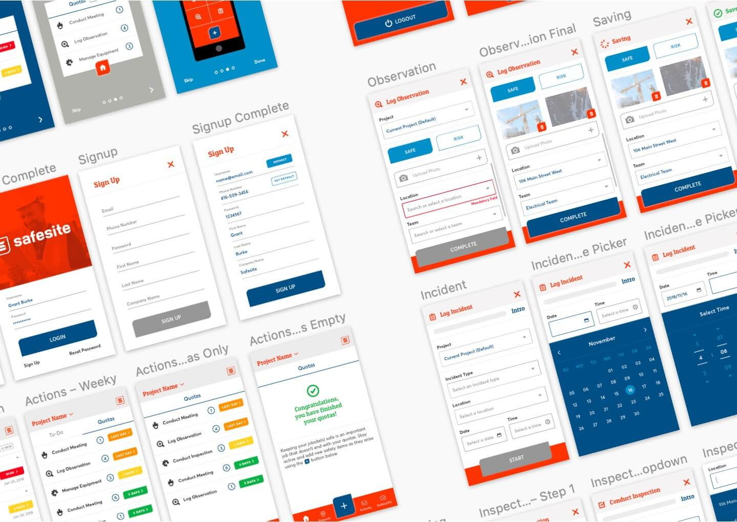 Safesite mobile app interface artboards