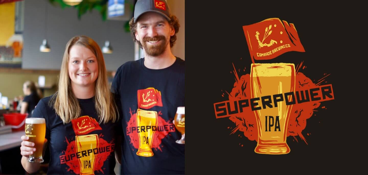 Comrade Brewery Superpower IPA Shirt Illustration