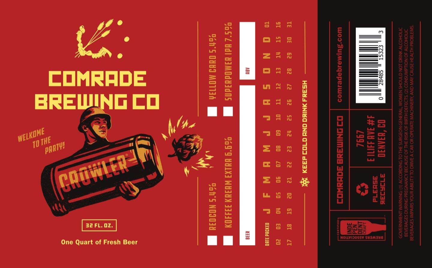 Comrade Brewery Beer Can Illustration