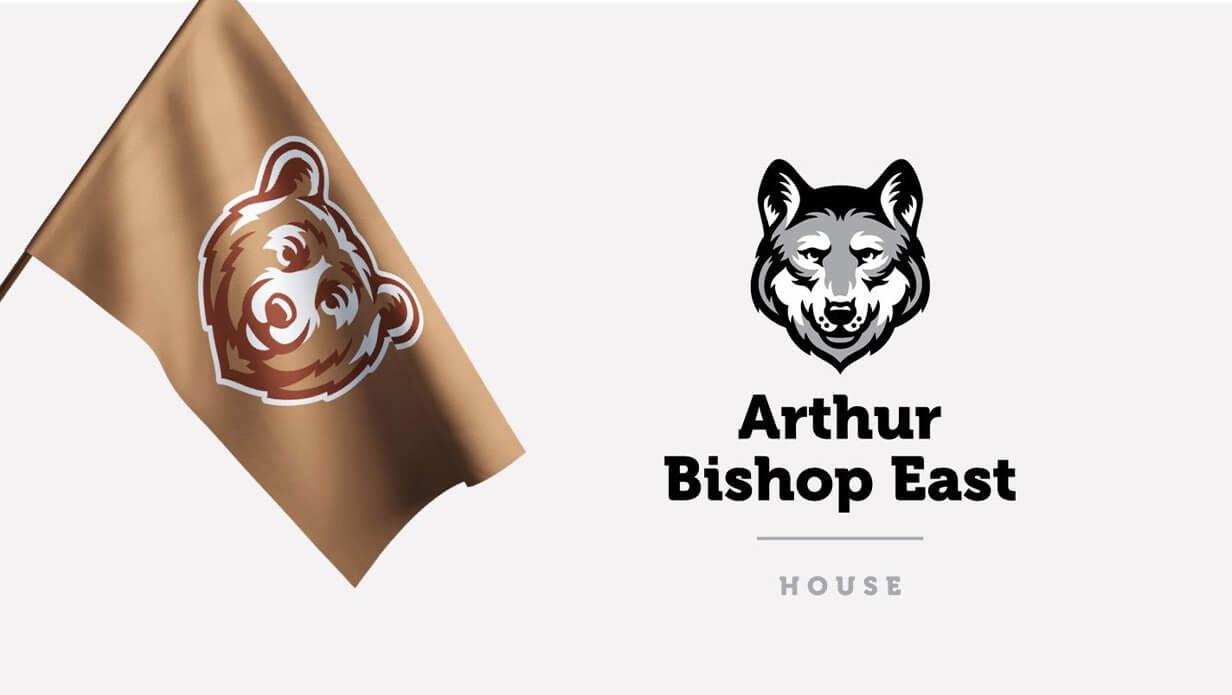 bear and wolf school mascot logo designs