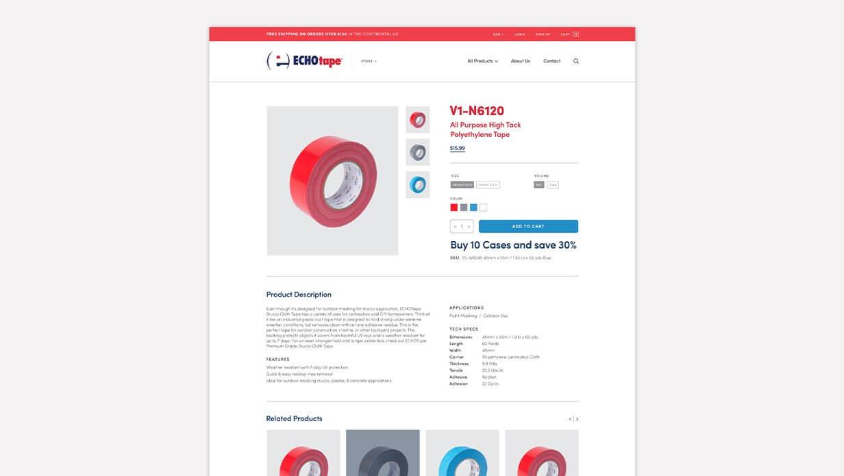 echotape ecommerce store web design