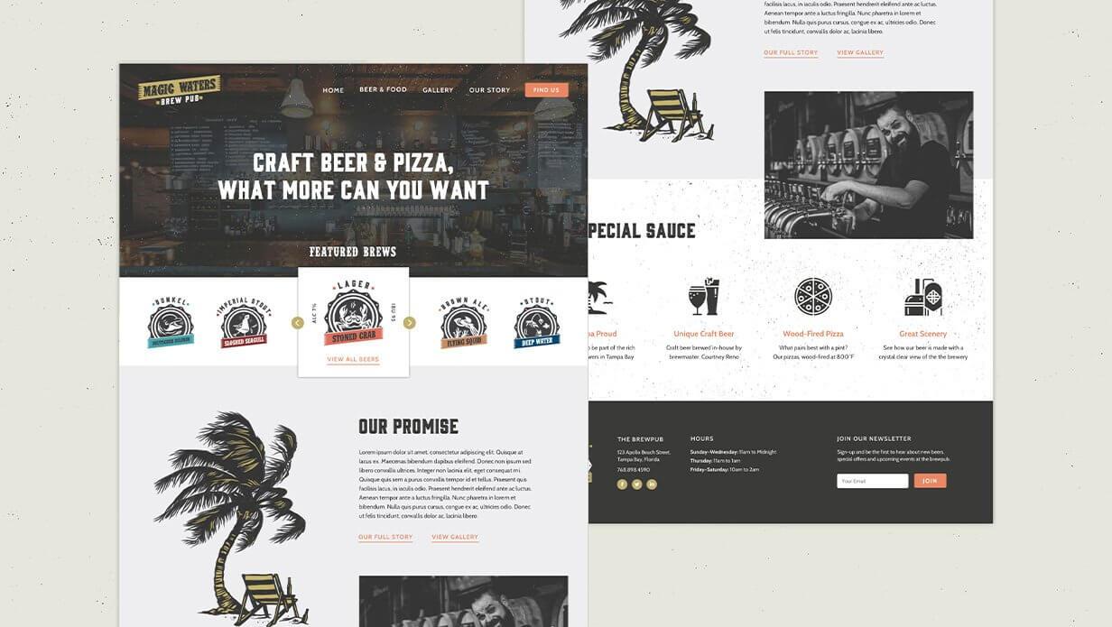 magic waters brewpub website design